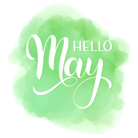 Hello May lettering. Elements for invitations, posters, greeting cards. Seasons Greetings Standard-Bild - 99299483