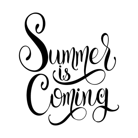 Summer is coming lettering. Elements for invitations, posters, greeting cards. Seasons Greetings