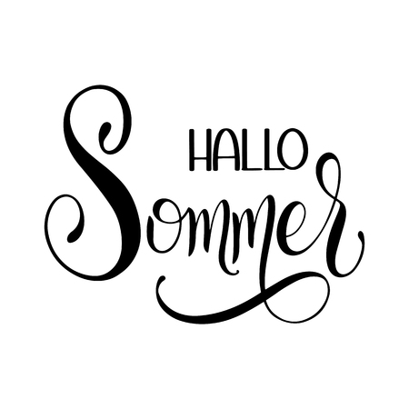 Hallo Sommer. Hello Summer lettering on German. Elements for invitations, posters, greeting cards. Seasons Greetings Vector illustration. Standard-Bild - 98702003