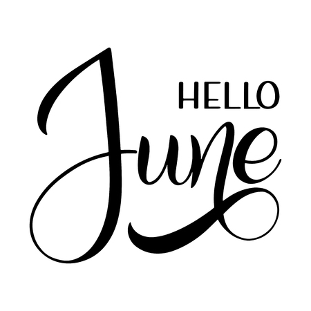 Hello June lettering. Elements for invitations, posters, greeting cards. Seasons Greetings Çizim