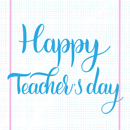 Happy Teacher Day lettering. Elements for invitations, posters, greeting cards. Seasons Greetings Standard-Bild - 98772174