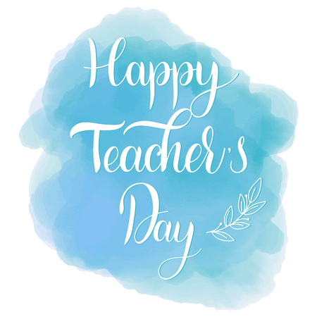 Happy Teacher Day lettering. Elements for invitations, posters, greeting cards. Seasons Greetings Standard-Bild - 98773222