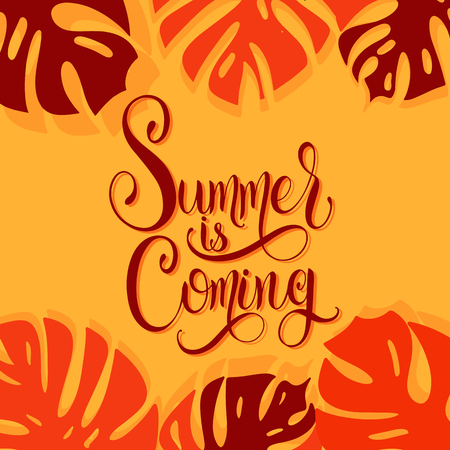 Summer is coming lettering elements for invitations, posters, greeting cards, seasons greetings. Ilustração