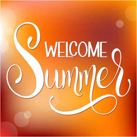 Welcome Summer lettering. Elements for invitations, posters, greeting cards. Seasons Greetings