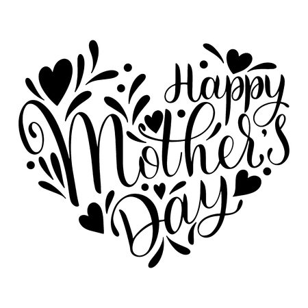 Happy mother's Day lettering. Greeting Card Design with Hand Drawn Text Vector illustration. Vettoriali