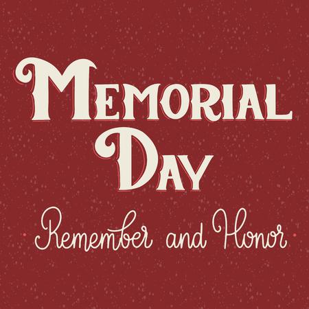 Memorial Day belettering. Onthoud en eer. Elementen voor uitnodigingen, posters, wenskaarten