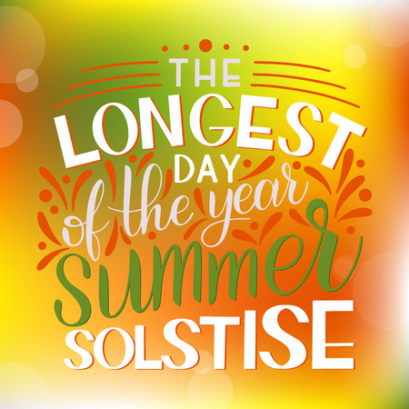 Summer solstice lettering. Elements for invitations, posters, greeting cards Vectores