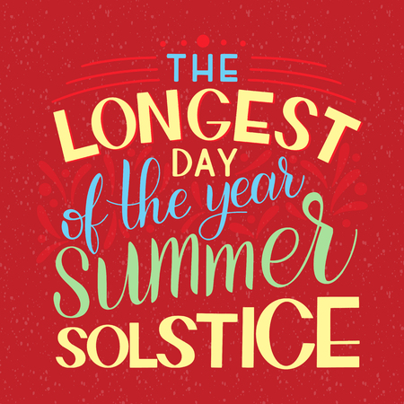 Summer solstice lettering. Elements for invitations, posters, greeting cards Vettoriali