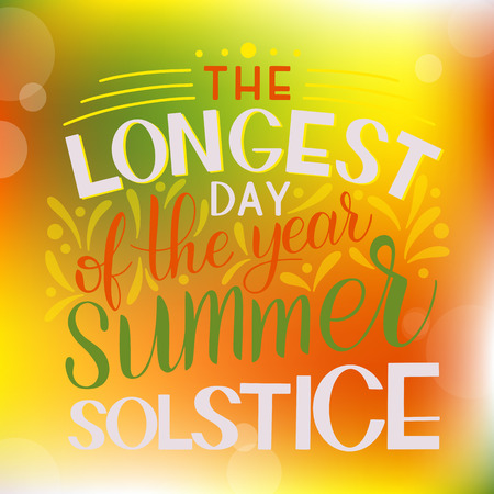 Summer solstice lettering. Elements for invitations, posters, greeting cards Çizim