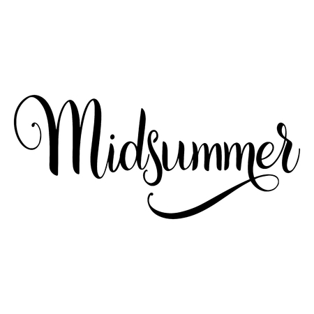 Midsummer lettering. Elements for invitations, posters greeting cards.