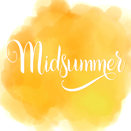 真夏のレタリング。招待状のデザインの要素。  イラスト・ベクター素材