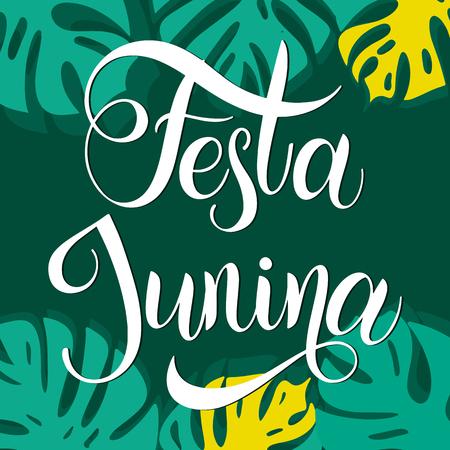 Midsummer lettering. Festa Junina Brazil Festival. Elements for invitations, posters greeting cards Vettoriali