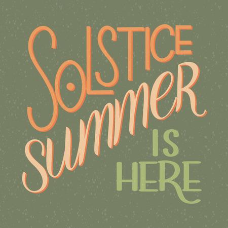 Lettrage du solstice d'été. Éléments pour la conception d'invitations.