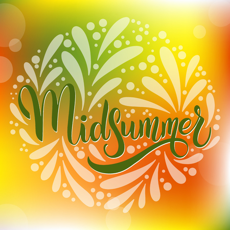 Midsummer lettering. Elements for invitations, posters greeting cards Vettoriali
