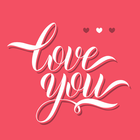 Love you lettering. Greeting Card Design. Hand Drawn Text