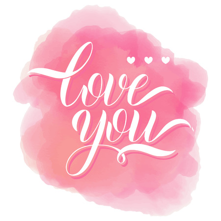 Love you lettering. Greeting Card Design. Hand Drawn Text Vector illustration.