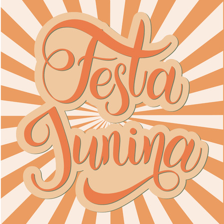Midsummer lettering. Festa Junina Brazil Festival. Elements for invitations, posters greeting cards. Иллюстрация