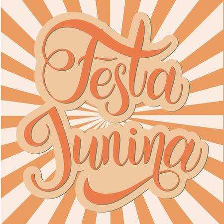 Midsummer lettering. Festa Junina Brazil Festival. Elements for invitations, posters greeting cards. Illustration