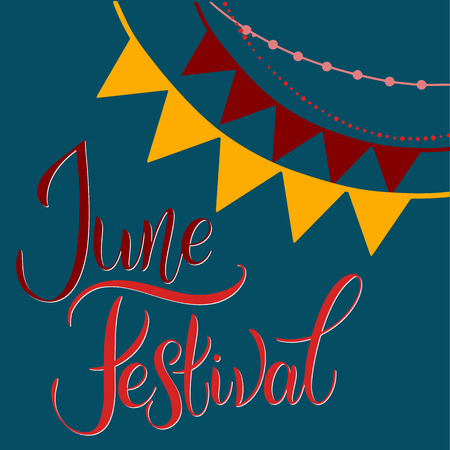 Midsummer lettering. Festa Junina. Elements for invitations, posters greeting cards