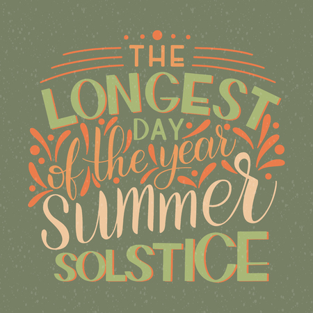 Summer solstice lettering. Elements for invitations, posters, greeting cards