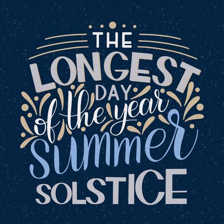 Lettrage du solstice d'été. Éléments pour invitations, affiches, cartes de vœux