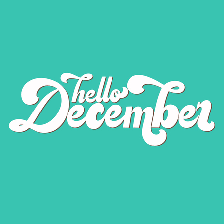 Hello December lettering. Elements for invitations, posters, greeting cards. T-shirt design. Seasons Greetings. 70's typography retro style. Vettoriali