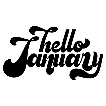 Hello January lettering. Elements for invitations, posters, greeting cards. T-shirt design. Seasons Greetings. 70's typography retro style.  イラスト・ベクター素材