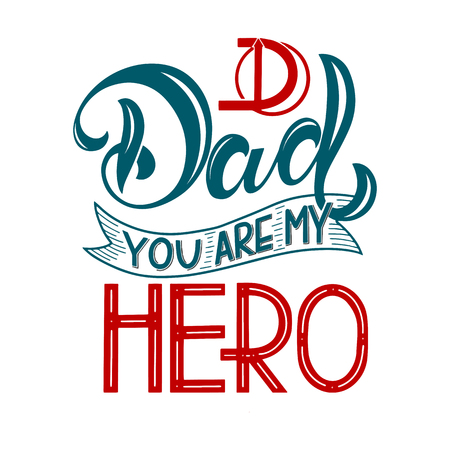 Happy Father Day lettering. Greeting Card Design. Hand Drawn Text. Elements for invitations, posters, greeting cards. T-shirt design Ilustracja