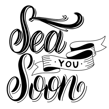 Summer handdrawn lettering. Sea you soon. Vector elements for invitations, posters, greeting cards. T-shirt design Stok Fotoğraf - 101840148