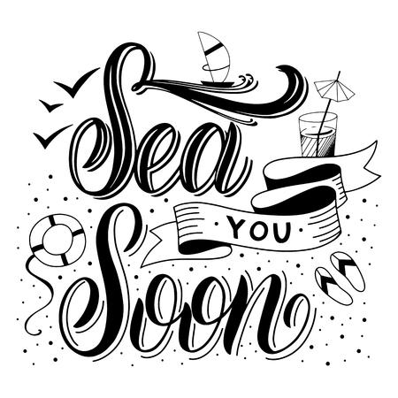 Lettrage dessiné à la main de l'été. Je vous salue bientôt. Éléments vectoriels pour invitations, affiches, cartes de voeux. Conception de t-shirt