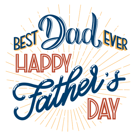 Happy Father Day Lettering Greeting Card Design Hand Drawn Text Elements For Invitations