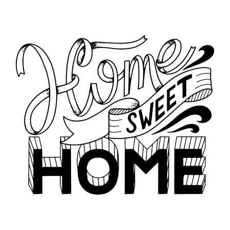Home sweet home lettering. Vector elements for invitations, posters, greeting cards. T-shirt design