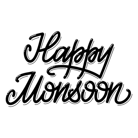 Happy Monsoon. Summer lettering. Vector elements for invitations, posters, greeting cards. T-shirt design