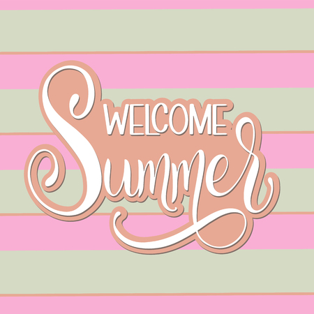 Hello Summer lettering. Elements for invitations, posters, greeting cards. Seasons Greetings