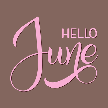 Hello June lettering. Elements for invitations, posters, greeting cards. Seasons Greetings Ilustração