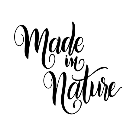 Organic food labels with hand drawn lettering. Made in nature. Healthy stickers. Design for print. Vector illustration. Ilustração