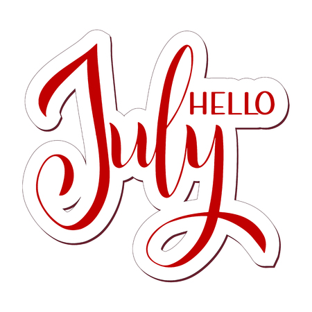 Hello July lettering. Elements for invitations, posters, greeting cards. Seasons Greetings Фото со стока - 117031175