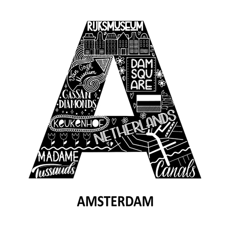 Amsterdam abstract sight map. Black and white. City alphabet typography. Vector illustration Stock Illustratie