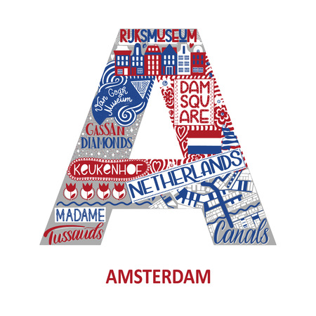 Amsterdam abstract sight map. National color. City alphabet typography. Vector illustration