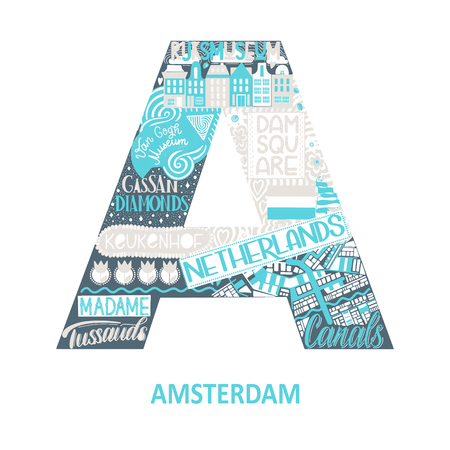 Amsterdam abstract sight map. Blue pastel color. City alphabet typography. Vector illustration