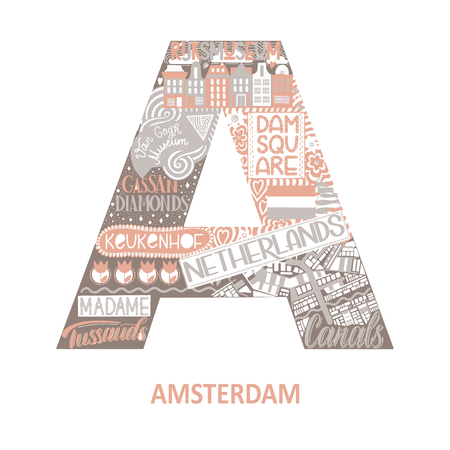 Amsterdam abstract sight map. Pink pastel color. City alphabet typography. Vector illustration