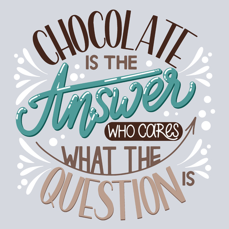 Chocolate world day. Chocolate is the answer who cares what the question. Vector elements for invitations, posters, greeting cards. T-shirt design