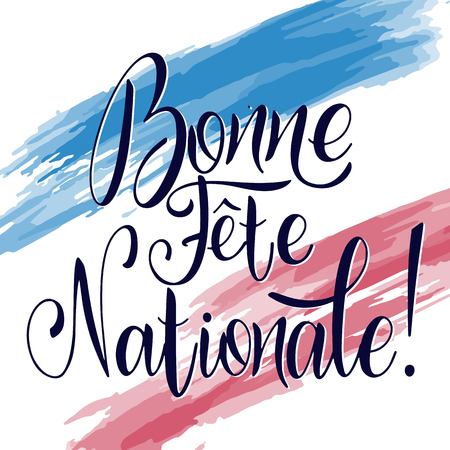 Bastille day hand drawn lettering. Happy National day on French. Bonne Fete Nationale. Vector elements for invitations, posters, greeting cards. T-shirt design Foto de archivo - 117031258