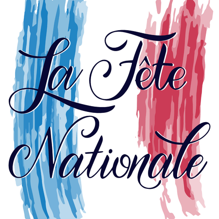 Bastille day hand drawn lettering. The National Day on French. La Fete Nationale. Vector elements for invitations, posters, greeting cards. T-shirt design Foto de archivo - 117031402