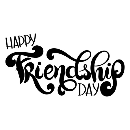 Journée de l'amitié lettrage dessiné à la main. Éléments vectoriels pour invitations, affiches, cartes de voeux. Conception de t-shirt
