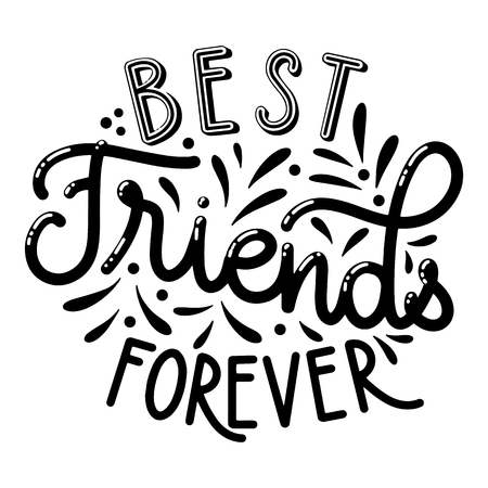 Friendship day hand drawn lettering. Best friends forever. Vector elements for invitations, posters, greeting cards. T-shirt design  イラスト・ベクター素材