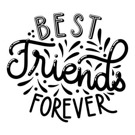 Letras dibujadas a mano del día de la amistad. Mejores amigos para siempre. Elementos vectoriales para invitaciones, carteles, tarjetas de felicitación. Diseño de camiseta
