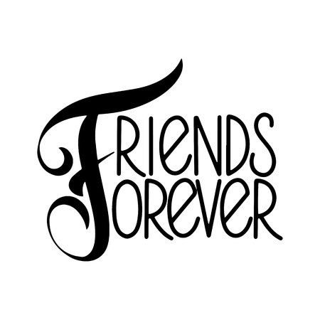 Friendship day hand drawn lettering. Friends forever. Vector elements for invitations, posters, greeting cards. T-shirt design 版權商用圖片 - 104241138
