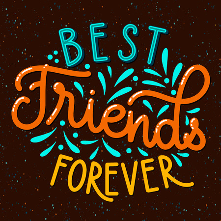 Friendship day hand drawn lettering. Best friends forever. Vector elements for invitations, posters, greeting cards. T-shirt design Ilustração