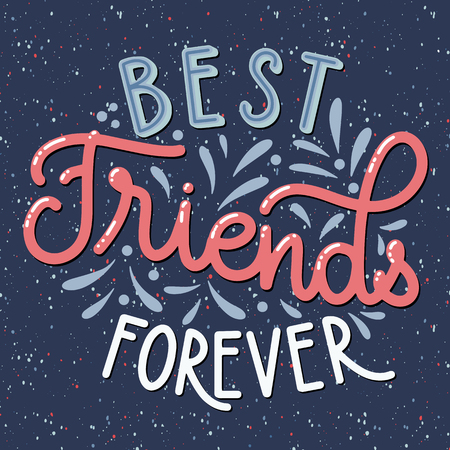 Journée de l'amitié lettrage dessiné à la main. Meilleurs amis pour toujours. Éléments vectoriels pour invitations, affiches, cartes de voeux. Conception de T-shirt. Citations d'amitié.